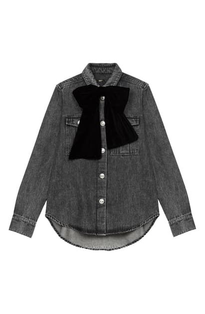 Maje Candice Velvet Bow-embellished Denim Jacket In Anthracite