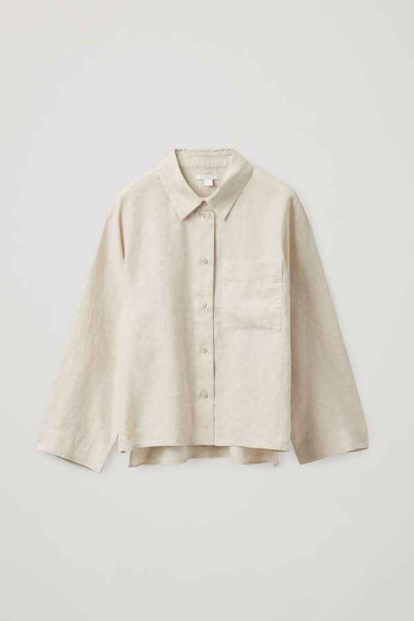 Cos Boxy Linen Shirt In Beige