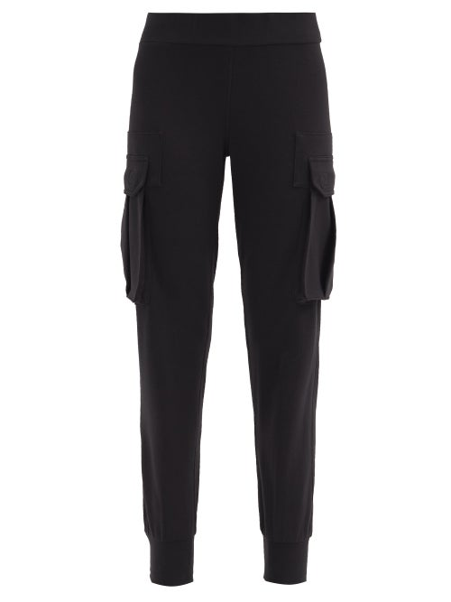Norma Kamali Cotton-blend Jersey Cargo Trousers In Black