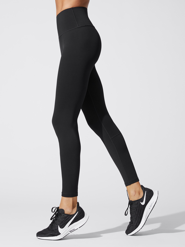 Carbon38 High Rise Full-length Legging In Diamond Compression Black S