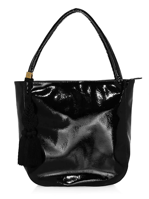Eric Javits Bria Faux Leather Tassel Tote In Black