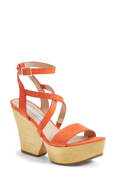 Diane Von Furstenberg 'lamille' Leather Platform Wedge Sandal (women) In Orange