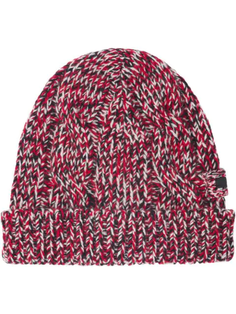 Prada Knitted Beanie Hat In Red