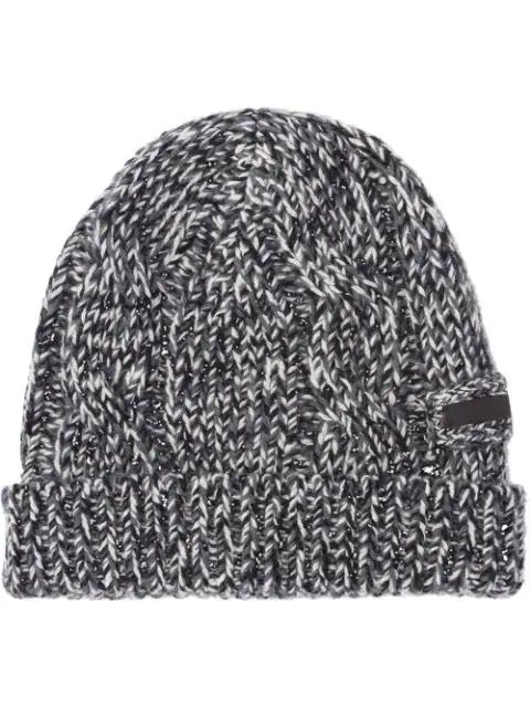 Prada Knitted Beanie Hat In Black