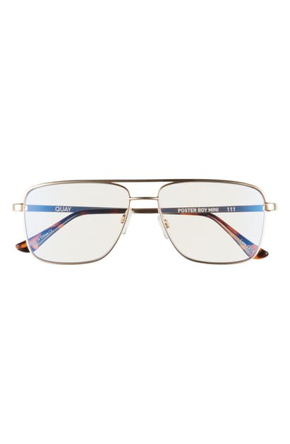 Quay Poster Boy Mini 56mm Glasses In Gold/ Clear