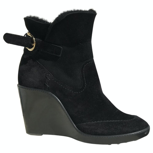 Pre-owned Salvatore Ferragamo N Black Suede Ankle Boots