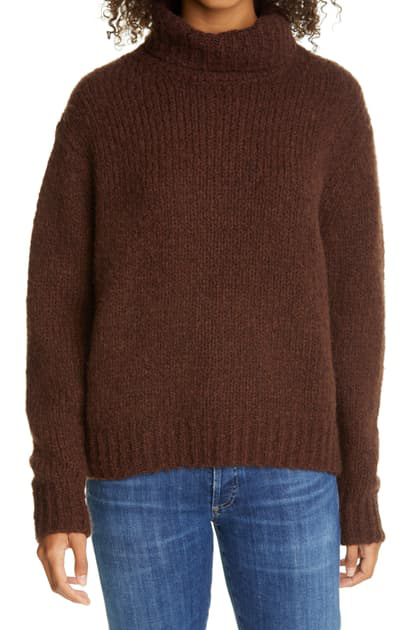 Line Felicity Wool & Cashmere Turtleneck Sweater In Chocolate