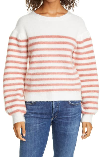 Line Frida Stripe Balloon Sleeve Sweater In Umber Stripe