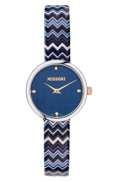 Missoni M1 Joyful Chevron Leather Strap Watch, 29mm (nordstrom Exclusive) In Stainless Steel / Blue