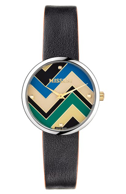 Missoni M1 Joyful Chevron Dial Leather Strap Watch, 34mm (nordstrom Exclusive) In Stainless Steel / Multicolor