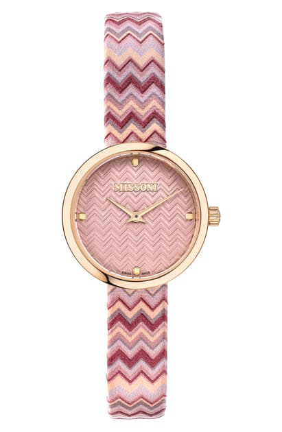 Missoni M1 Joyful Chevron Leather Strap Watch, 29mm (nordstrom Exclusive) In Champagne / Pink