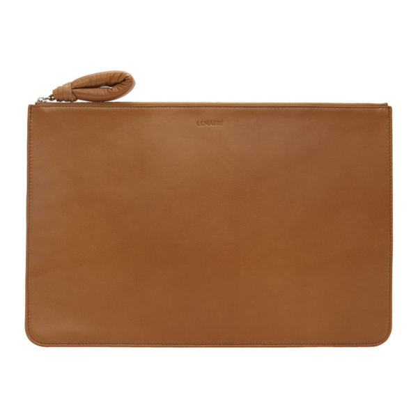 Lemaire Tan A4 Pouch In 420 Tobacco