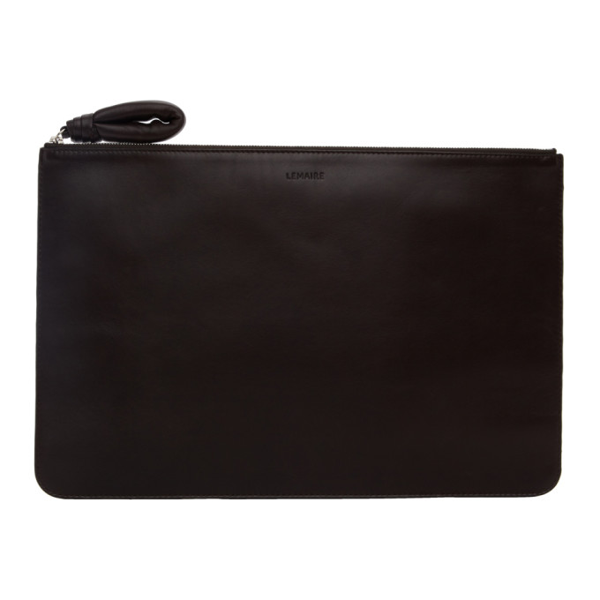 Lemaire Brown A4 Pouch In 490 Drkchoc