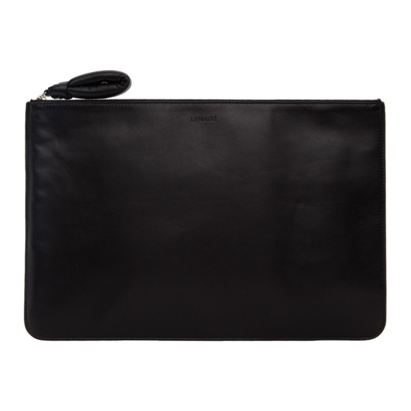 Lemaire Black A4 Pouch In 999  Black