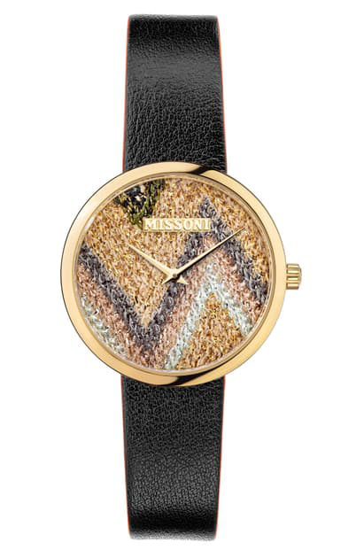Missoni M1 Joyful Knit Dial Leather Strap Watch Gift Set, 34mm (nordstrom Exclusive) In Champagne / Multicolor