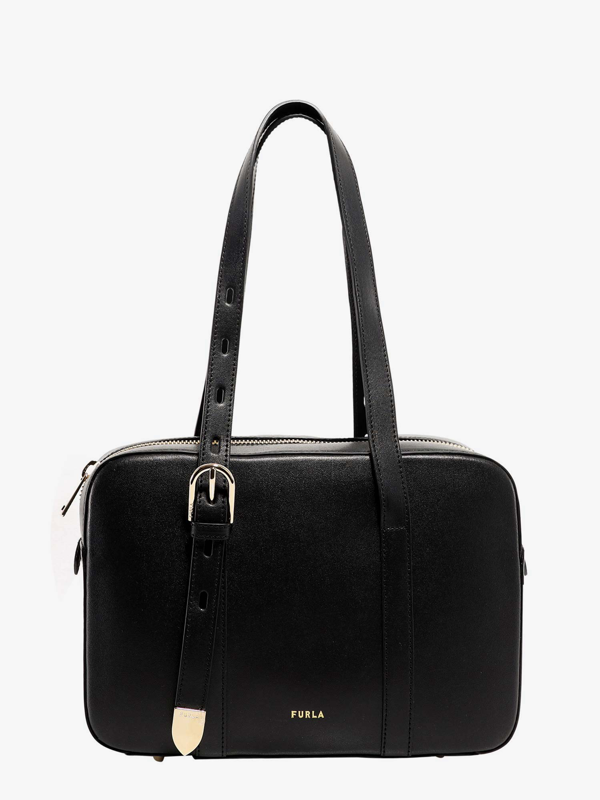 Furla Medium Leather Tote Bag In Black