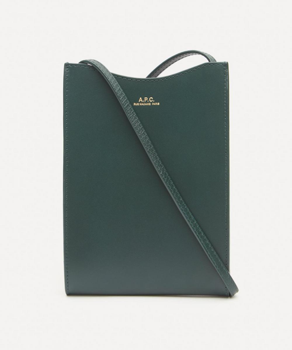 A.p.c. Jamie Leather Neck Pouch In Vert Sapin
