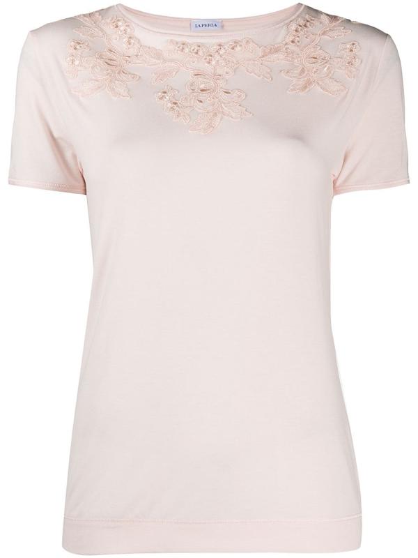 La Perla Floral-appliquéd T-shirt In Pink