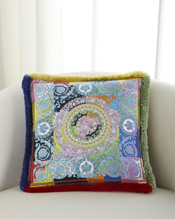 Versace Barocco Patchwork Silk Decorative Pillow, 18 X 18 In Multi