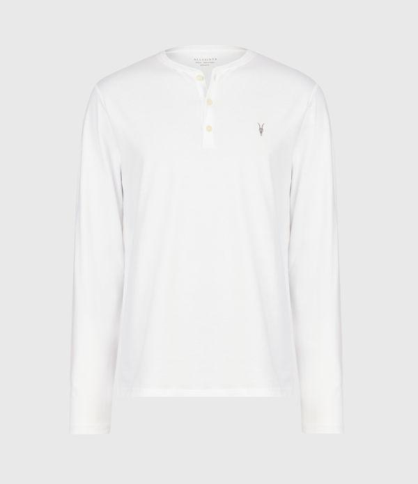 Allsaints Slim Fit Logo Henley In Optic White