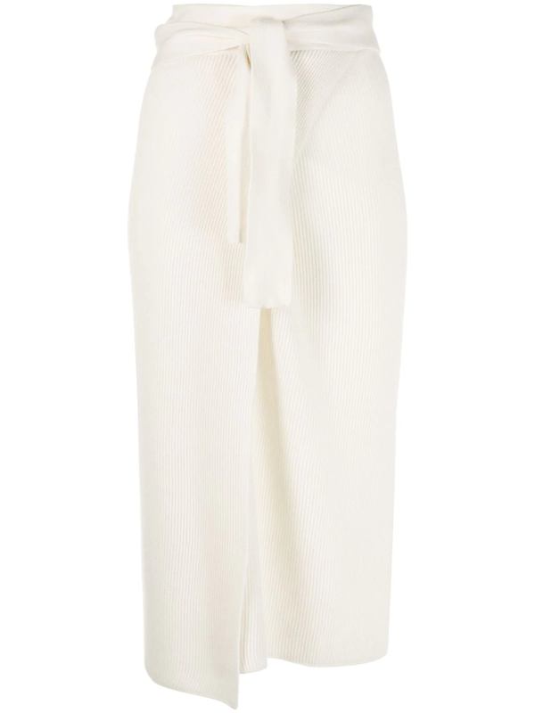 Cashmere In Love Ribbed-knit Wrap Skirt In White
