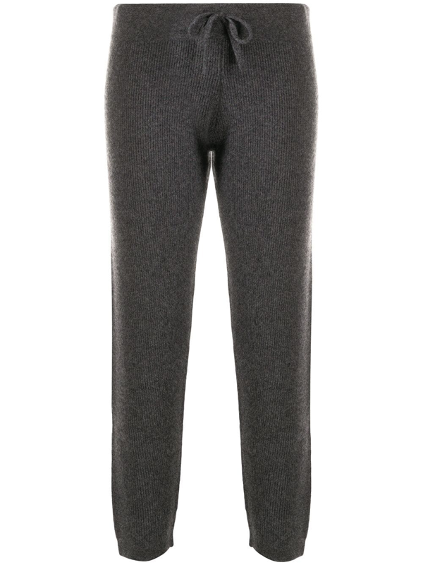 Cashmere In Love Ribbed-knit Track Pants In Grey