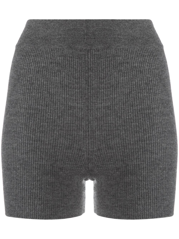 Cashmere In Love Ribbed-knit Biker Shorts In Grey