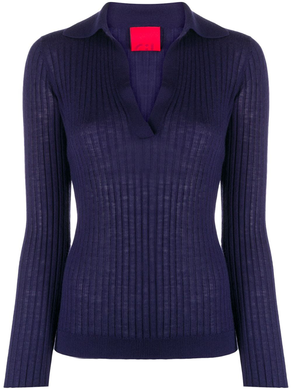 Cashmere In Love Ribbed-knit Polo Jumper In Blue