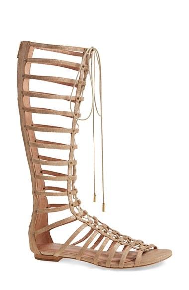 Joie Falicia Tall Gladiator Sandal, Saglia In Saglia Metallic Suede