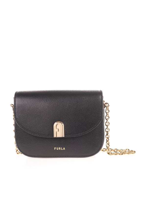 Furla 1927 Mini Shoulder Bag In Black Leather