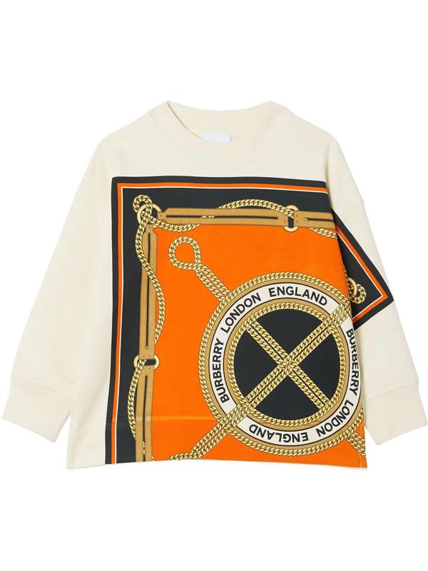 Burberry Kids' Scarf Print Crew Neck Sweatshirt In White