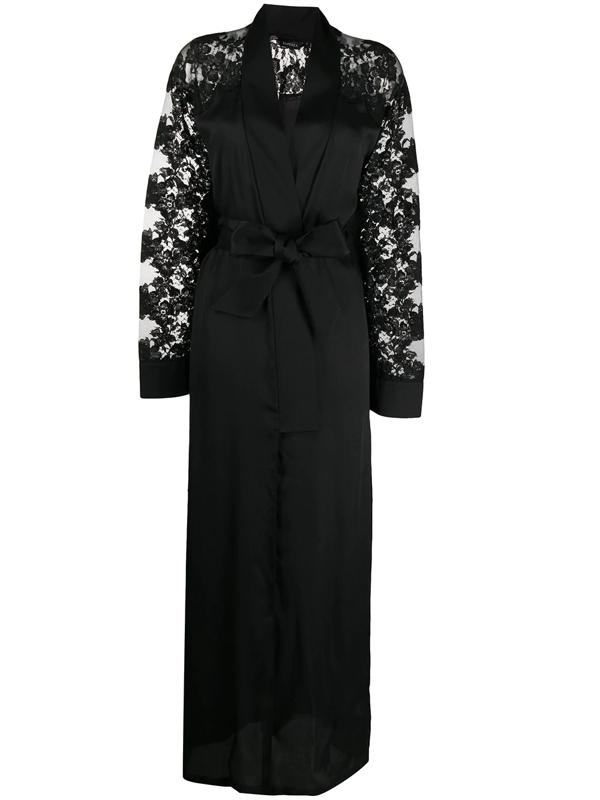 La Perla Fall In Love Silk Robe In Black