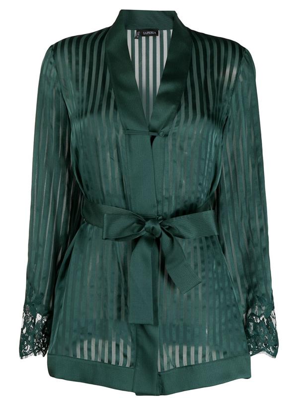 La Perla Lace-panelled Silk Pyjamas In Green