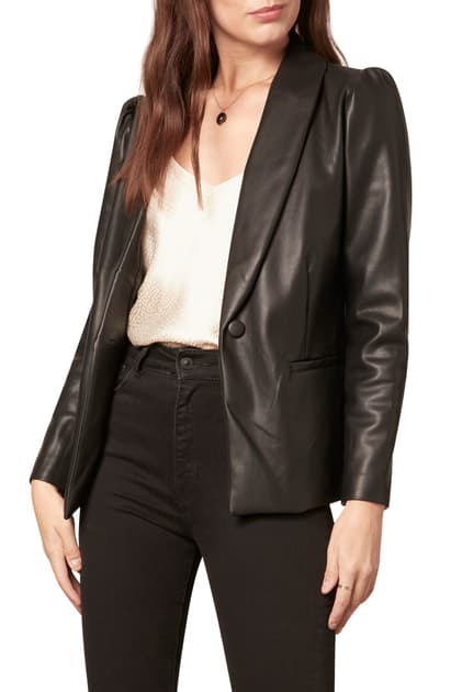 Cupcakes And Cashmere Fallon Puff Sleeve Faux Leather Jacket In Black