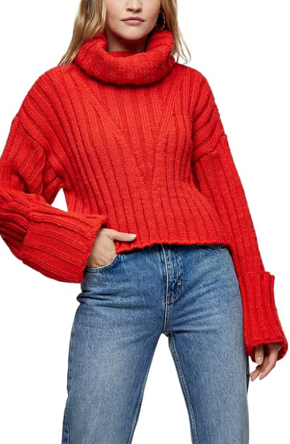 Topshop Turnback Cuff Turtleneck Sweater In Red