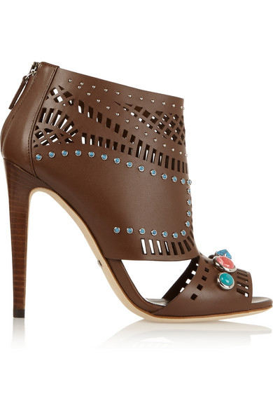 Gucci Embellished Open-Toe Leather Ankle Boots In Brown