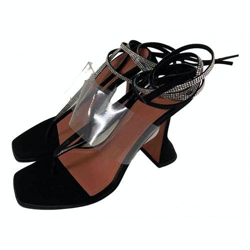 Pre-owned Amina Muaddi Black Leather Sandals