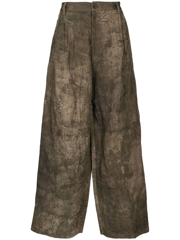 Ziggy Chen Textured Wide-leg Trousers In Brown
