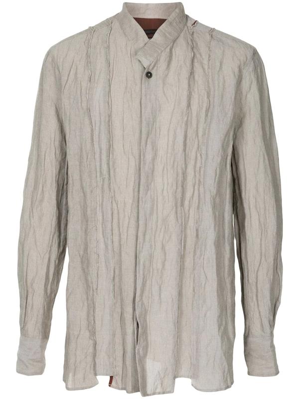 Ziggy Chen Round Neck Long-sleeved Shirt In Grey
