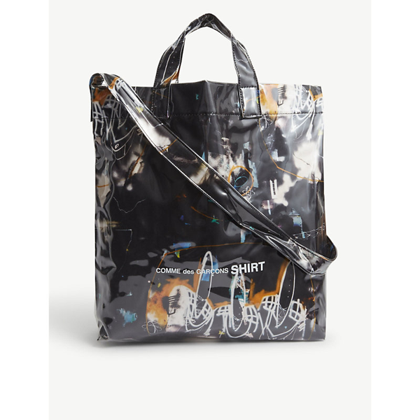 Comme Des Garçons Shirt Futura Graphic-print Vinyl Small Tote In Black