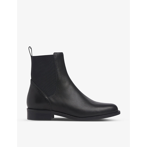 Lk Bennett April Brogue-detailing Leather Chelsea Boots In Bla-black