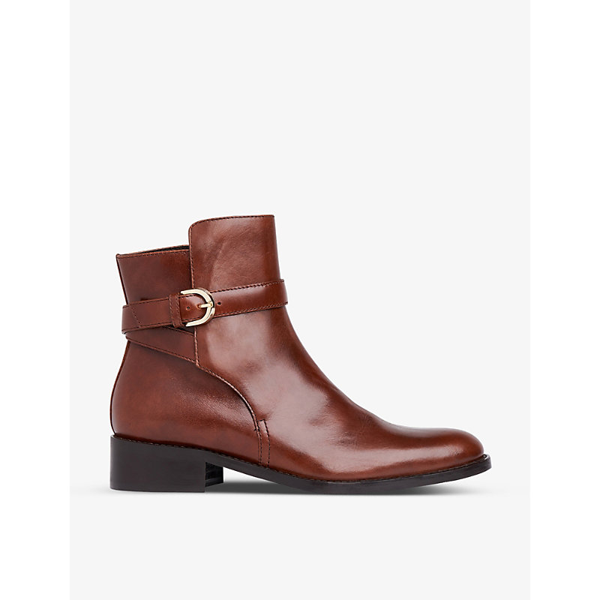 Lk Bennett Annie Buckle-strap Leather Ankle Boots In Bro-brown
