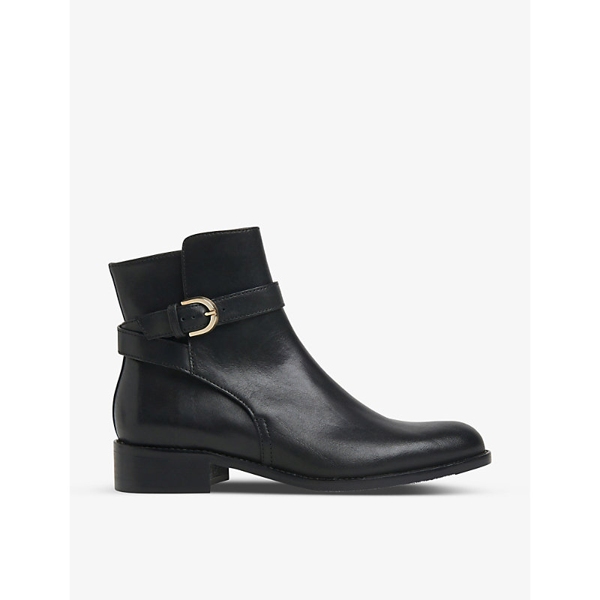 Lk Bennett Annie Buckle-detail Leather Ankle Boots In Bla-black