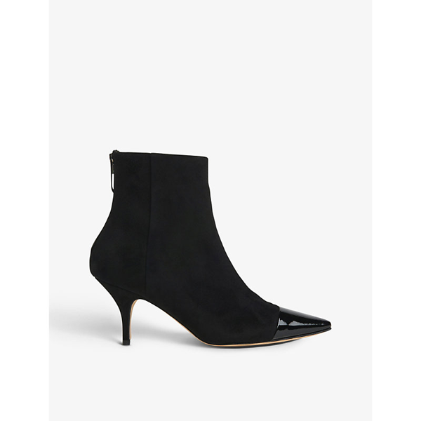 Lk Bennett Athena Patent Leather-toecap Suede Ankle Boots In Bla-black