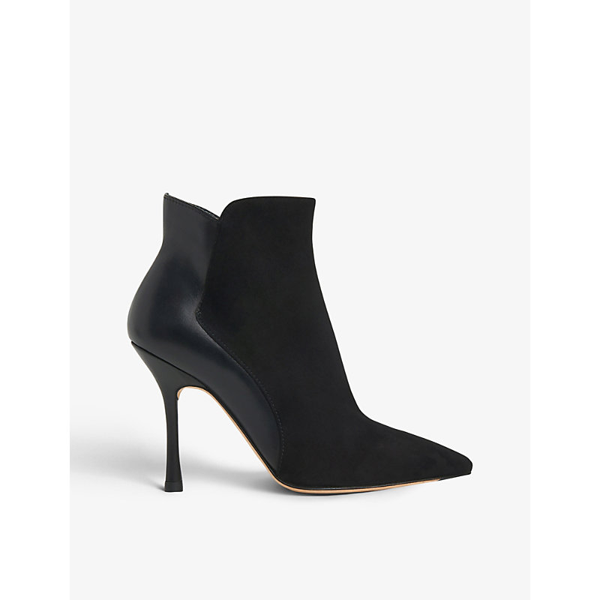 Lk Bennett Aliyah Suede And Leather Ankle Boots In Bla-black