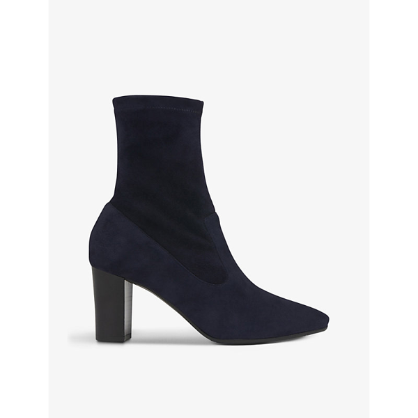 Lk Bennett Alice Heeled Suede Ankle Boots In Blu-navy