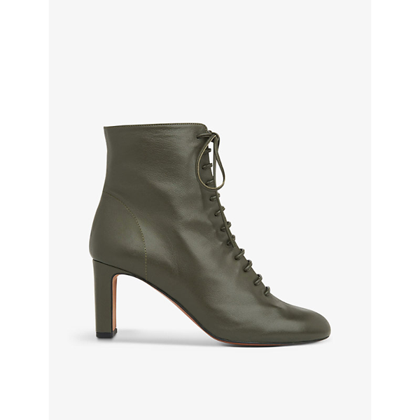 Whistles Dahlia Lace-up Leather Boots In Black