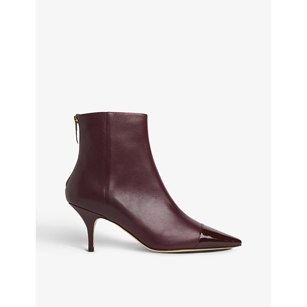 Lk Bennett Athena Patent Leather-toecap Leather Ankle Boots In Red-wine
