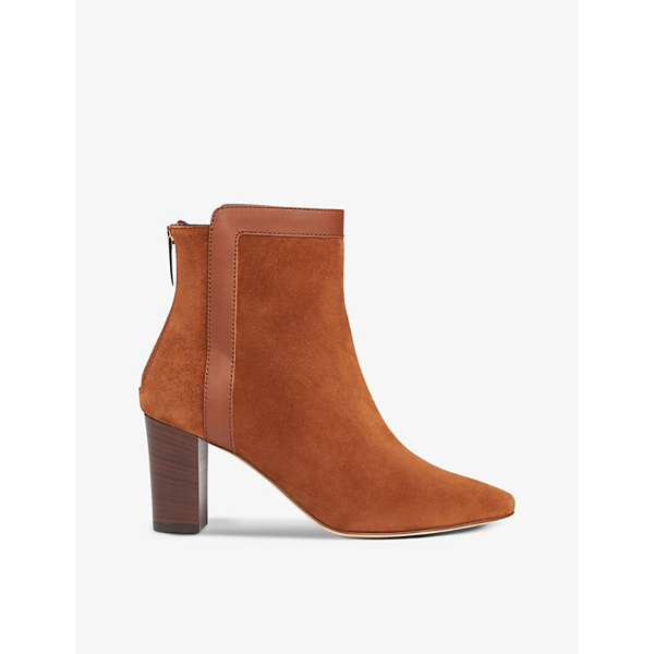 Lk Bennett Abbey Suede Heeled Ankle Boots In Bro-brown