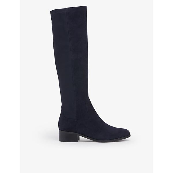 Lk Bennett Bella Suede And Textile Knee-high Boots In Blu-navy